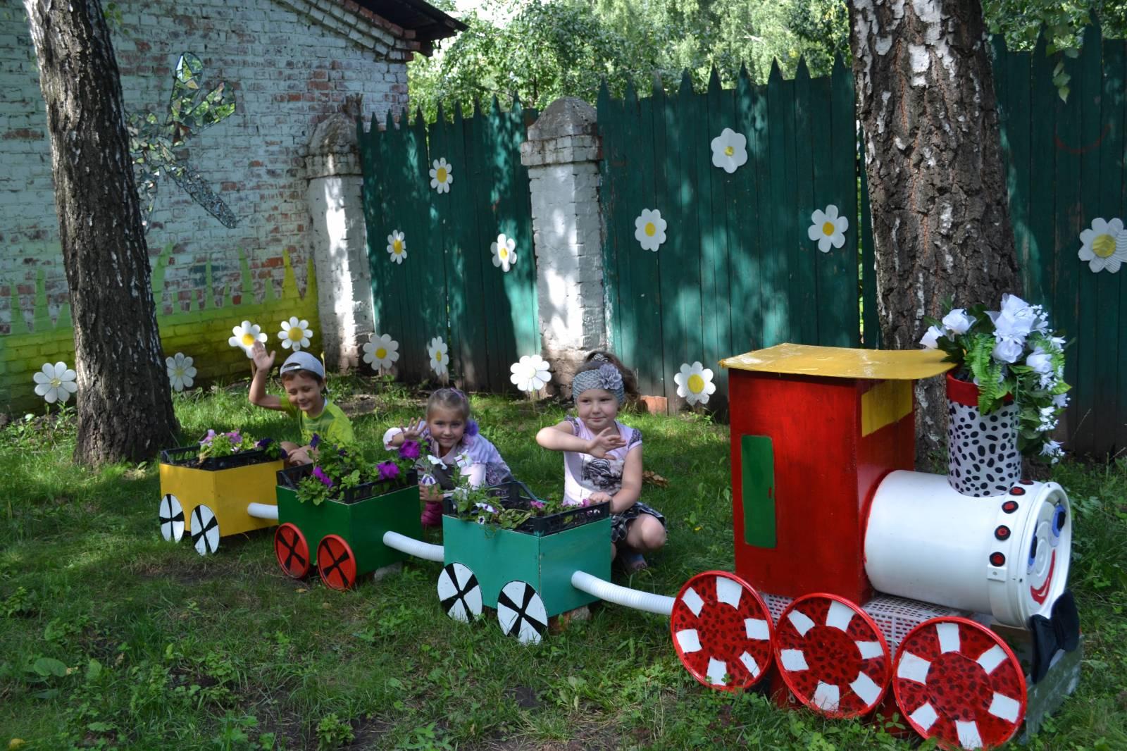 Идеи для детской площадки: детский паровозик 52